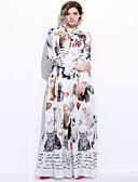 povoljno Ženske haljine-Žene Šifon Haljina Jednobojni Kragna košulje Midi