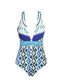 cheap One-piece swimsuits-Women's Boho Plunging Neck White Black Pink Triangle Briefs One-piece Swimwear - Floral Blue & White Tropical Leaf Backless L XL XXL White / Sexy