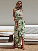 cheap Women's Dresses-Women's Boho / Street chic Sheath / Swing Dress - Floral Backless / Split / Print