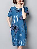 tanie Print Dresses-Damskie Puszysta Wyjściowe / Praca Wzornictwo chińskie / Wyrafinowany styl Bawełna Luźna Zmiana Sukienka - Zwierzę Do kolan Motyl / Lato