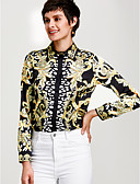 cheap Prom Dresses-Women's Sophisticated Shirt - Floral Print Shirt Collar Gold L