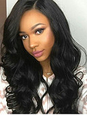 cheap Men's Blazers & Suits-Virgin Human Hair Glueless Lace Front / Lace Front Wig Brazilian Hair Natural Wave Wig With Baby Hair 130% Natural Hairline / With Bleached Knots / Pre-Plucked Black Women's Long Human Hair Lace Wig