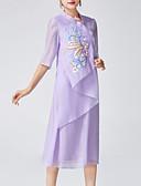 tanie Suknie i sukienki damskie-Damskie Święto Vintage / Wzornictwo chińskie Swing Sukienka Haft Kołnierz stawiany Midi / Lato