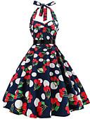 ieftine Rochii de Damă-Pentru femei Vintage Swing Rochie - Imprimeu, Floral Lungime Genunchi