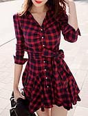 baratos Vestidos de Mulher-Mulheres Algodão Camisa Vestido Colarinho de Camisa Acima do Joelho