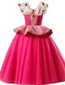 お買い得  女児 ドレス-子供 女の子 ベーシック / 甘い パーティー / 祝日 ソリッド ノースリーブ ミディ コットン / ポリエステル ドレス フクシャ
