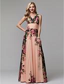 preiswerte Abendkleider-A-Linie V-Ausschnitt Boden-Länge Chiffon Abiball Kleid mit Muster / Druck / Gerafft durch TS Couture®