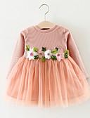 Χαμηλού Κόστους Βρεφικά φορέματα-Μωρό Κοριτσίστικα Ενεργό Γεωμετρικό Μακρυμάνικο Βαμβάκι Φόρεμα Λευκό / Νήπιο