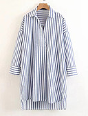 cheap Leggings-Women's Loose Tunic Dress - Striped Shirt Collar