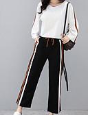 ieftine Costum Damă Două Bucăți-Pentru femei Mărime Plus Size Sleeve Flare Bumbac Activ Tricou / Set - Dungi, Pantaloni / Stripe fină