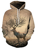 cheap Men's Hoodies & Sweatshirts-Men's Plus Size Active / Exaggerated Long Sleeve Loose Hoodie - 3D / Cartoon Print Hooded Yellow 4XL / Fall / Winter