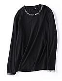 ieftine Maieu & Tricouri Bărbați-Bărbați Rotund Tricou Scrisă / Manșon Lung