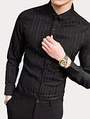 billige Herreskjorter-Bomull Skjorte Herre - Stripet / Langermet