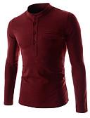 ieftine Maieu & Tricouri Bărbați-Bărbați Stand Tricou Bumbac De Bază - Mată / Manșon Lung