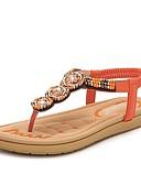 billige Sandaler til damer-Dame Sko Nappa Lær Sommer Komfort Sandaler Flat hæl Svart / Oransje