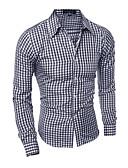 זול חולצות לגברים-חולצת גברים - צווארון חולצה משובצת