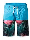 povoljno Muške duge i kratke hlače-Muškarci Osnovni Pamuk Kratke hlače Hlače - Cvjetni print Print Plava / Ljeto / Plaža