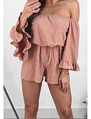 cheap Women's Dresses-women's beach cotton romper - solid colored boat neck