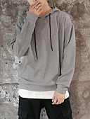 povoljno Muške majice i potkošulje-Muškarci Ulični šik Dugih rukava Hoodie Jednobojni S kapuljačom