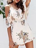 ieftine Lenjerie la Modă-Pentru femei De Bază Bumbac Salopete - Imprimeu, Floral Cu Bretele / Vară