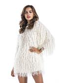 baratos Vestidos de Mulher-Mulheres Feriado Solto Bainha Vestido Gola Redonda Cintura Alta Mini / Verão / Outono