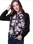 ieftine Leggings-Pentru femei Sport Regular Jachetă, Print Floral Stand Manșon Lung Poliester Negru M / L / XL