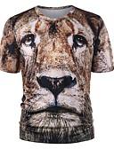 tanie Koszulki i tank topy męskie-T-shirt Męskie Moda miejska, Nadruk Okrągły dekolt Szczupła - Zwierzę / Krótki rękaw