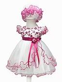 billige Babykjoler-Baby Jente Vintage Ut på byen / Bursdag Blomstret Kortermet Knelang Bomull / Polyester Kjole Rosa