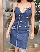 cheap Women's Dresses-Women's Daily Basic A Line / Denim Dress Strap Blue S M / Sexy