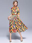 זול עליוניות לנשים-מקסי דפוס, פרחוני - שמלה גזרת A / סווינג בוהו / סגנון רחוב בגדי ריקוד נשים