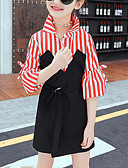 cheap Bikinis-Kids Girls' Street chic Daily / Going out Striped / Patchwork Patchwork Long Sleeve Rayon Dress Red