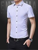 baratos Camisas Masculinas-Homens Camisa Social - Trabalho Sólido / Manga Curta