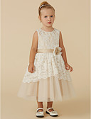 cheap Flower Girl Dresses-A-Line Tea Length Flower Girl Dress - Lace / Tulle Sleeveless Scoop Neck with Sash / Ribbon / Flower by LAN TING BRIDE®