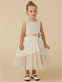זול שמלות לילדות פרחים-גזרת A באורך הקרסול שמלה לנערת הפרחים - תחרה / טול ללא שרוולים סקופ צוואר עם סרט / פרח על ידי LAN TING BRIDE®