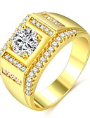 cheap Men's Tees & Tank Tops-Men's Classic Stylish Ring Promise Ring - 18K Gold Plated, Imitation Diamond Precious Classic, Fashion, Hip-Hop 7 / 8 / 9 / 10 / 11 Gold For Engagement Date