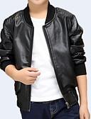 お買い得  男児 ジャケット&コート-子供 男の子 ベーシック 日常 ソリッド 長袖 レギュラー ポリウレタン スーツ&ブレザー ブラック