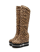 cheap Maxi Dresses-Women's Shoes Synthetics Fall & Winter Fashion Boots Boots Wedge Heel Round Toe Mid-Calf Boots Sparkling Glitter Black / Wine / Leopard