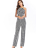 cheap Women's Jumpsuits & Rompers-Women's Daily Basic Halter Neck Black Slim Jumpsuit, Striped Print L XL XXL Sleeveless Summer