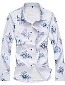 tanie Męskie koszule-Rozmiar plus Koszula Męskie Podstawowy Bawełna Kwiaty / Długi rękaw