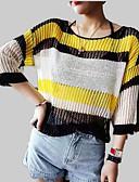 billige damesweaters-Dame Pullover - Ensfarvet / Stribet / Farveblok, Net