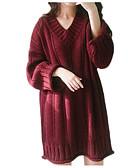 זול סוודרים לנשים-אחיד - סוודר משוחרר שרוול ארוך צווארון V ליציאה בגדי ריקוד נשים