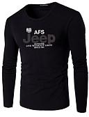 ieftine Maieu & Tricouri Bărbați-Bărbați Rotund - Mărime Plus Size Tricou Bumbac Scrisă / Manșon Lung