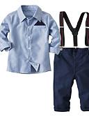 Χαμηλού Κόστους Σετ ρούχων για αγόρια-Παιδιά / Νήπιο Αγορίστικα Ενεργό / Βασικό Πάρτι / Καθημερινά Μονόχρωμο / Ριγέ / Συνδυασμός Χρωμάτων Στάμπα Μακρυμάνικο Κανονικό Κανονικό Βαμβάκι / Πολυεστέρας Σετ Ρούχων Μπλε Απαλό
