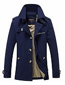 cheap Men's Jackets & Coats-Men's Street chic Plus Size Coat - Solid Colored Stand / Long Sleeve