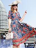 baratos Vestidos de Mulher-Mulheres Básico / Elegante Bainha Vestido Estampa Colorida / Animal Médio