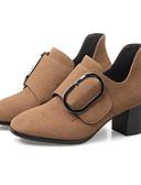 abordables Sombreros de mujer-Mujer Zapatos Cuero de Napa Primavera / Otoño Confort Tacones Tacón Cuadrado Negro / Verde Ejército / Color Camello
