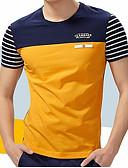ieftine Maieu & Tricouri Bărbați-Bărbați Rotund - Mărime Plus Size Tricou Bumbac Dungi Peteci / Manșon scurt