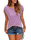 abordables Camisetas para Mujer-camiseta de mujer - cuello redondo de color sólido