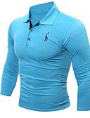 tanie Męskie koszulki polo-Koszula Męskie Sport Kołnierzyk koszuli Solidne kolory / Długi rękaw