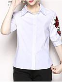 ieftine Cămașă-bluza de lenjerie de corp / bumbac pentru femei - gât rotund solid colorat